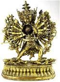Antique 18th Century Tibetan Gilt Bronze Multi Arm Diet