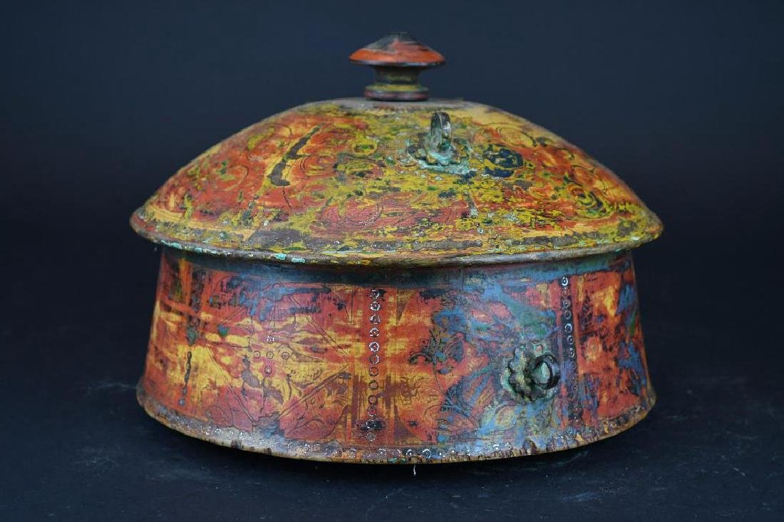 Tibetan Covered Polychrome Wooden Dish