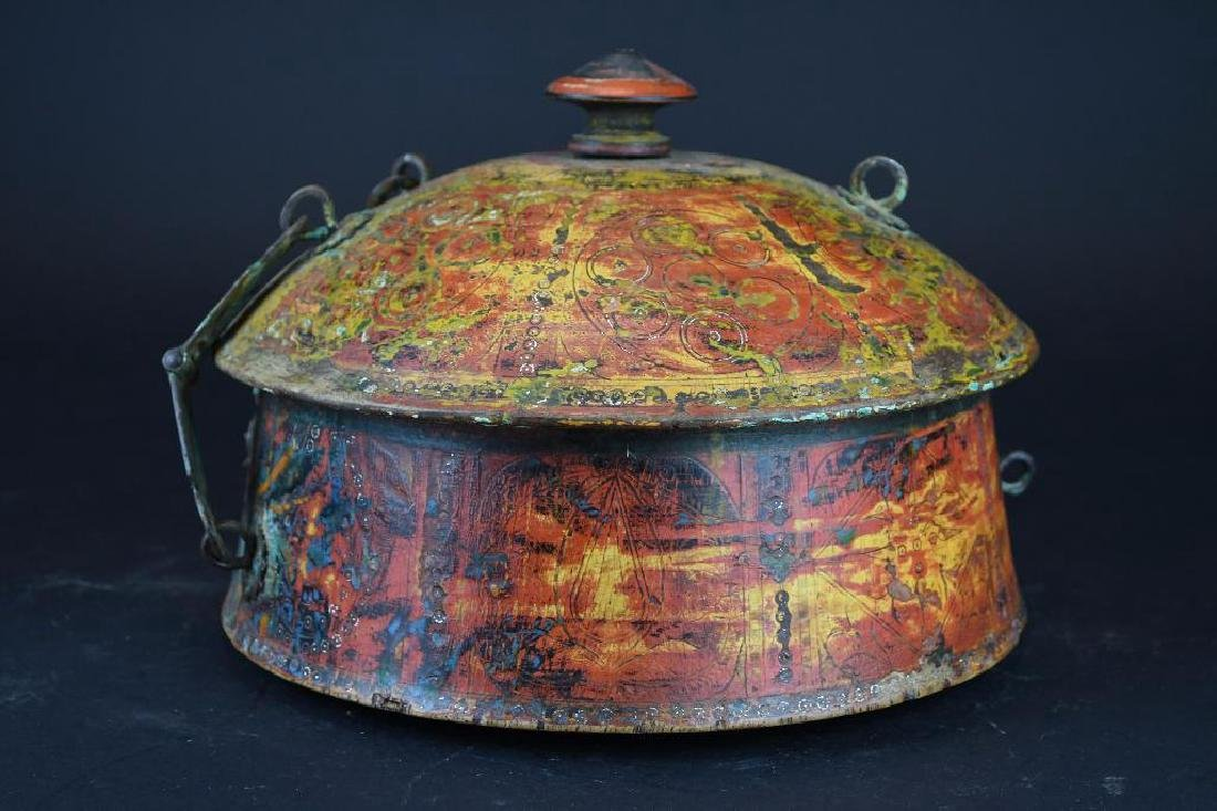 Tibetan Covered Polychrome Wooden Dish - 2