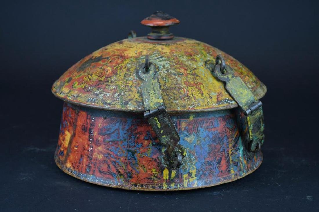 Tibetan Covered Polychrome Wooden Dish - 3