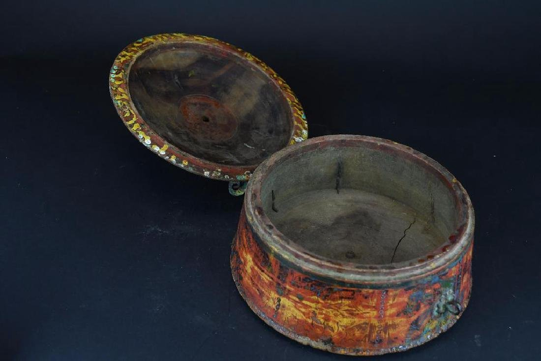 Tibetan Covered Polychrome Wooden Dish - 4