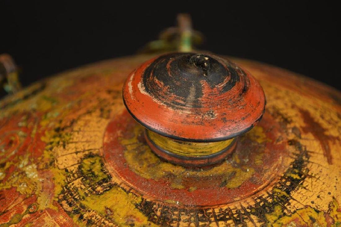 Tibetan Covered Polychrome Wooden Dish - 5