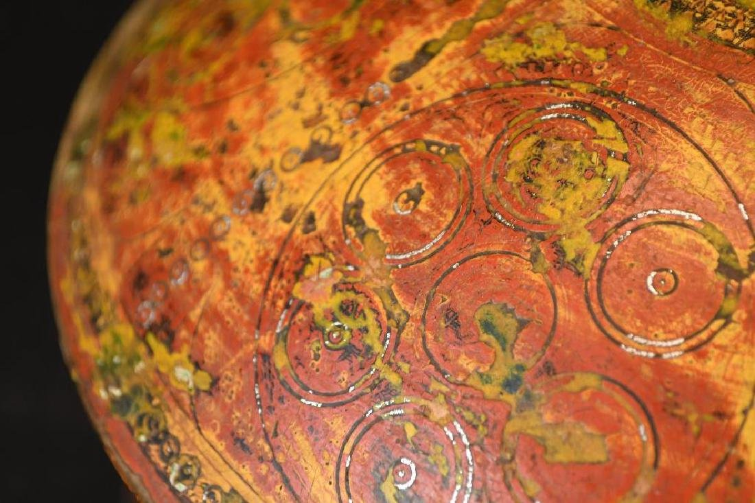 Tibetan Covered Polychrome Wooden Dish - 6