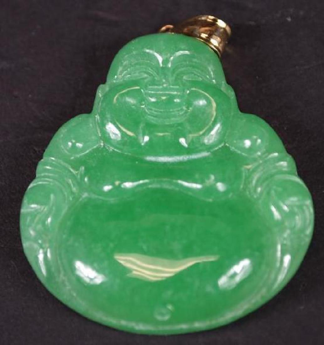 Jadeite Buddha & Gold Pendant