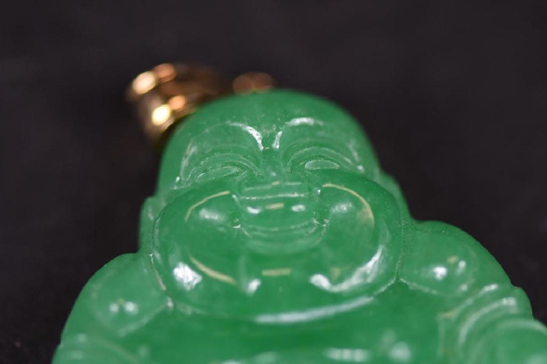 Jadeite Buddha & Gold Pendant - 3