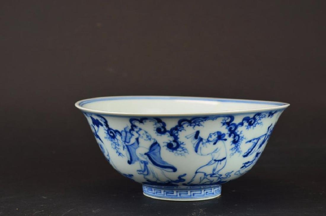 Chinese Blue & White Porcelain footed Bowl - 3