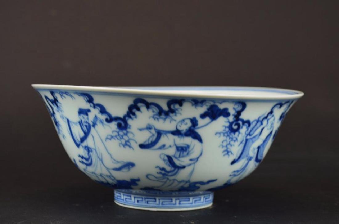 Chinese Blue & White Porcelain footed Bowl - 4