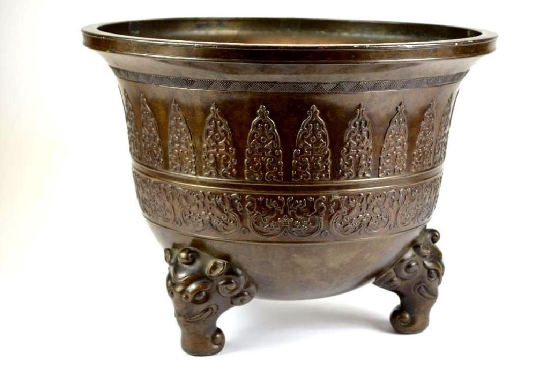 Large Chinese Bronze Tripod Censer - 2