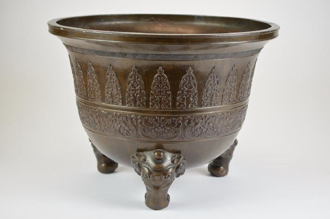 Large Chinese Bronze Tripod Censer - 3