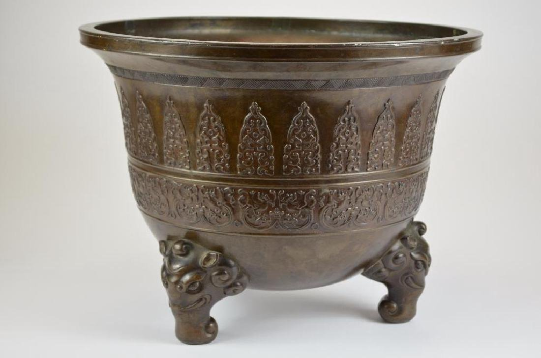 Large Chinese Bronze Tripod Censer - 4