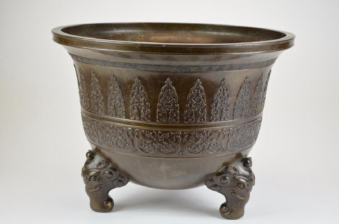 Large Chinese Bronze Tripod Censer - 5