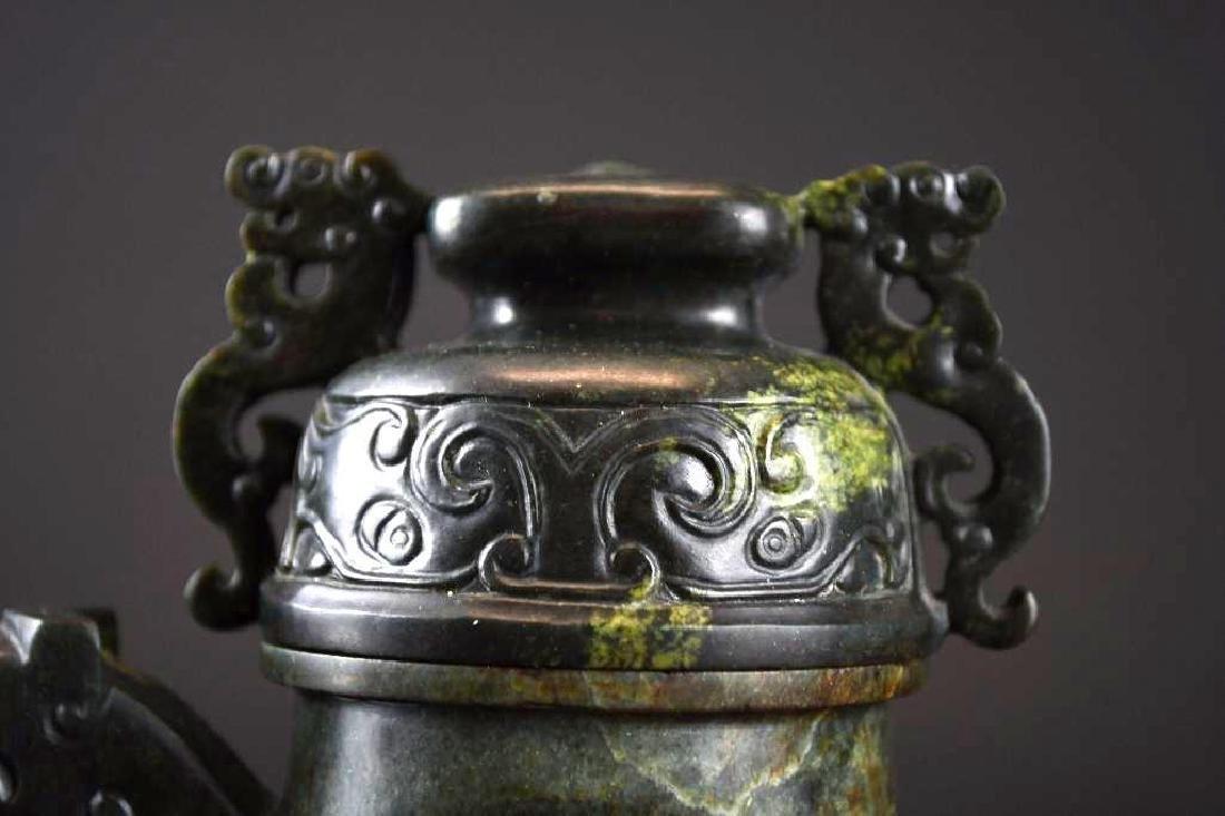 Carved Spinach Jade Lidded Ewer - 5