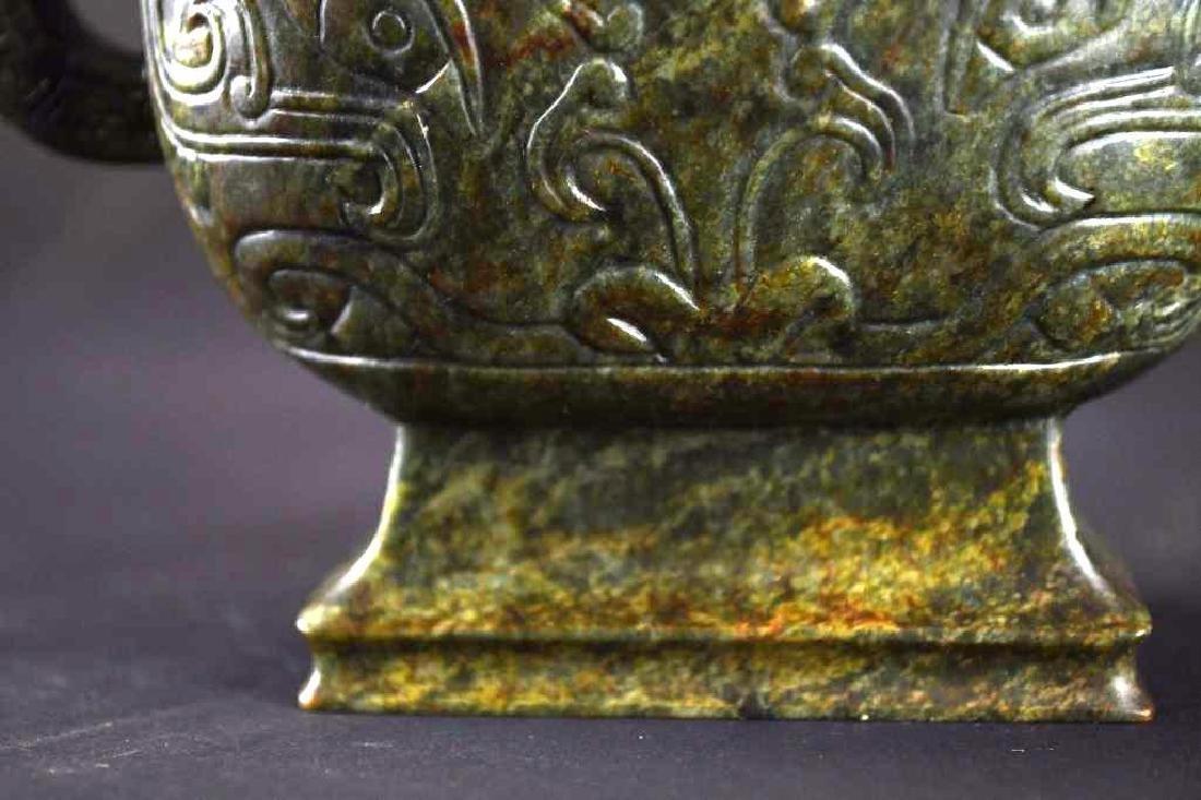 Carved Spinach Jade Lidded Ewer - 8