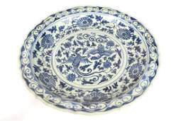 Chinese Blue & White Crane Charger