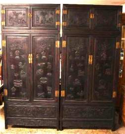Pair of Chinese Hardwood/ Zitan Hand Carved Cabinets