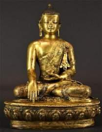 Antique Chinese Seated Gilt Bronze Buddha on Lotus Base