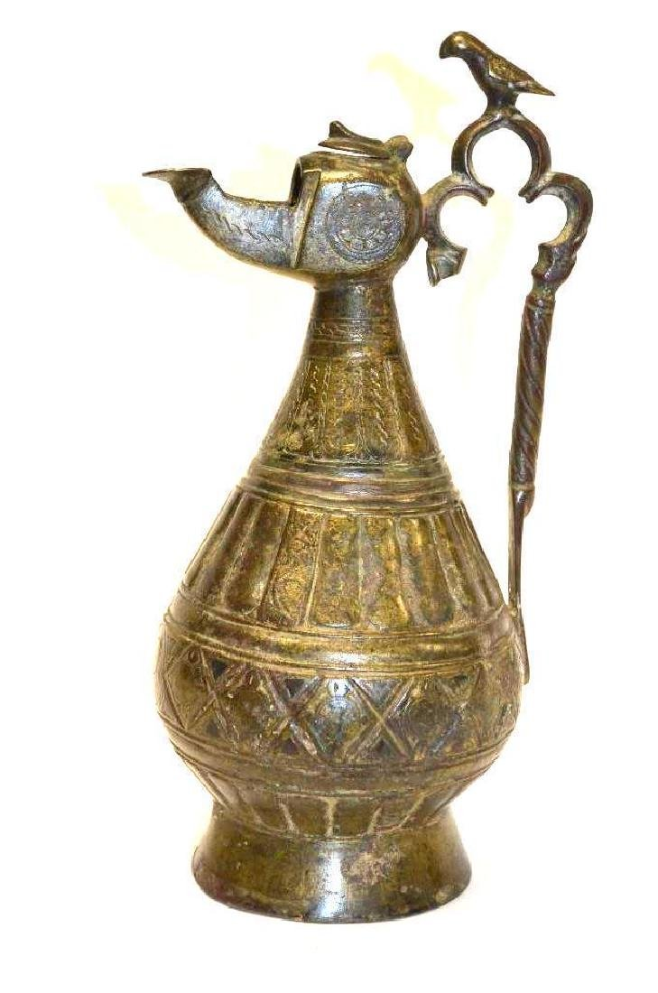 Antique Islamic copper Inlaid Bronze Ewer 14th C.