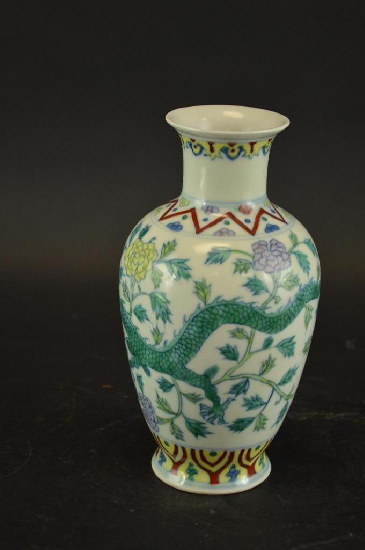 Chinese Wucai Glaze Porcelain Dragon Vase - 5