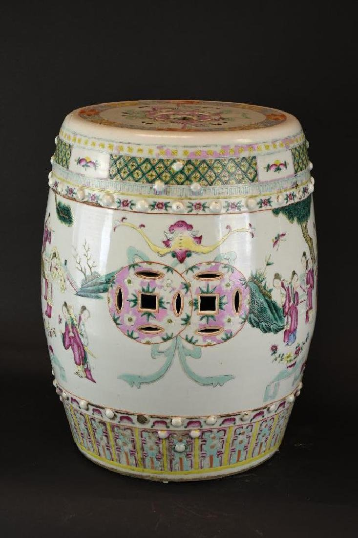 Antique Chinese Famille Rose Porcelain Garden Seat