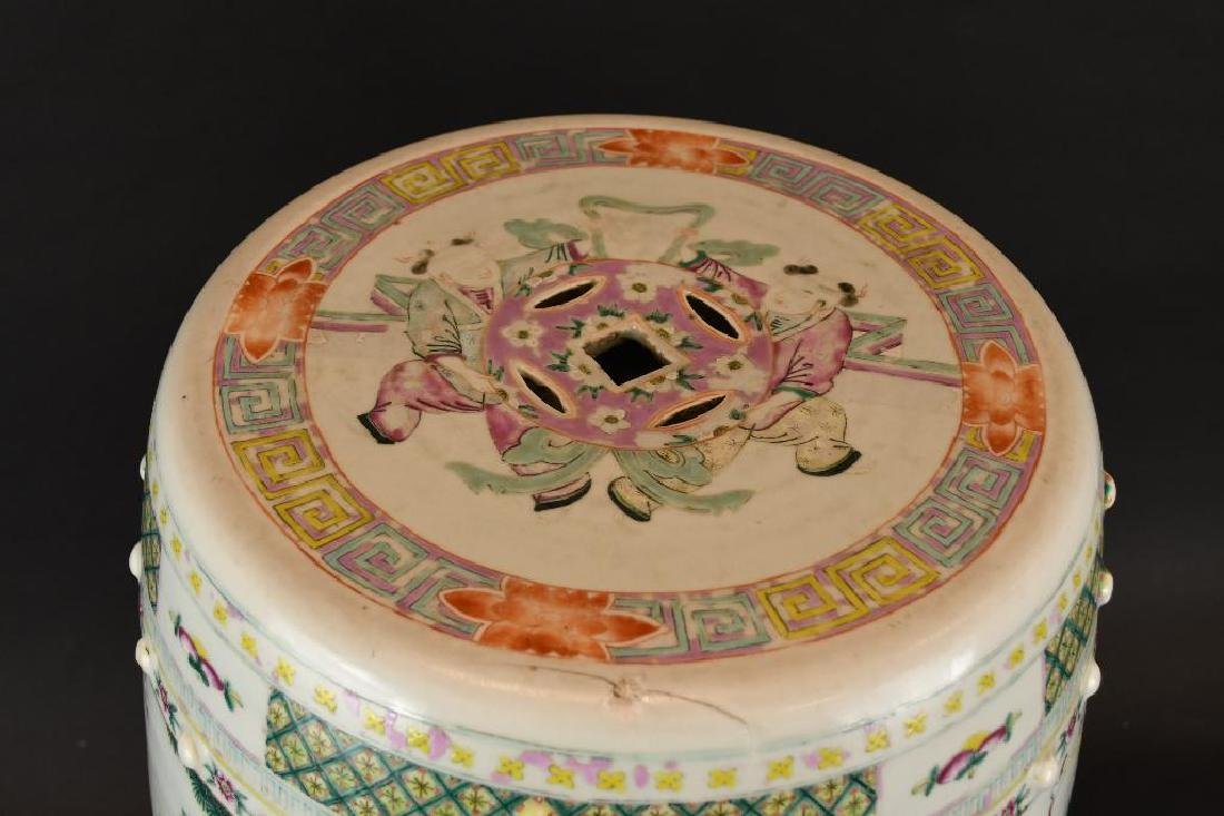 Antique Chinese Famille Rose Porcelain Garden Seat - 5
