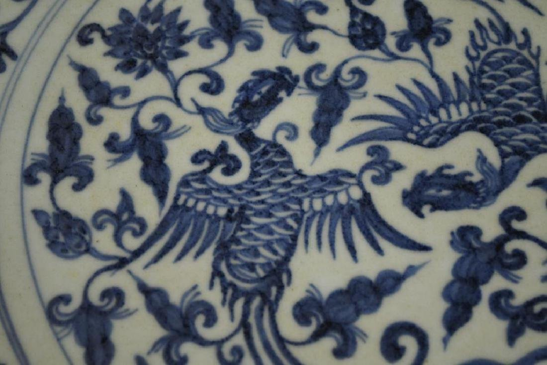 Chinese Blue & White Crane Charger - 5