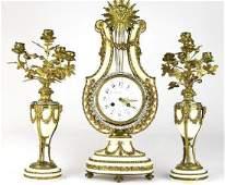 Antique Tiffany & Co Gilt Bronze Mantle Clock Set