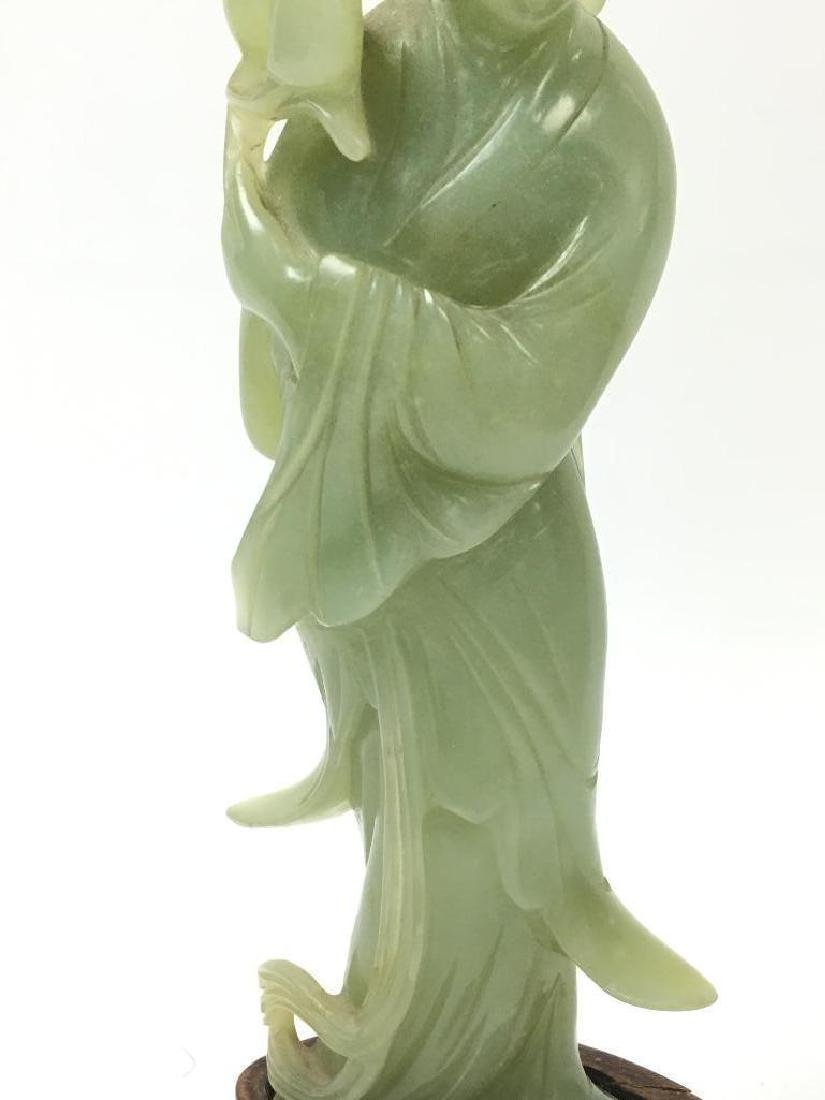 Antique Chinese Celadon Jade Standing Beauty on stand - 3
