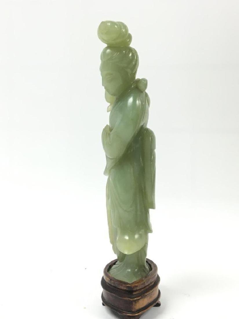 Antique Chinese Celadon Jade Standing Beauty on stand - 4