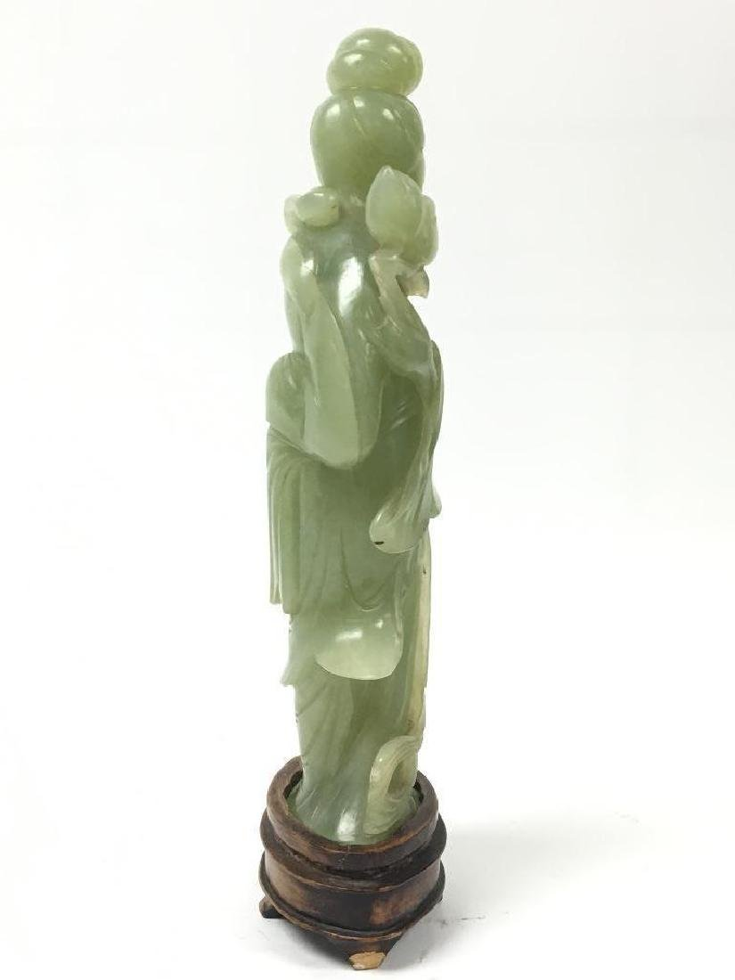 Antique Chinese Celadon Jade Standing Beauty on stand - 6