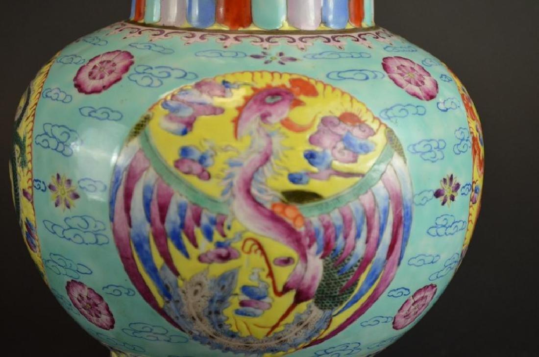 Chinese Wucai Glaze Porcelain Vase - 4