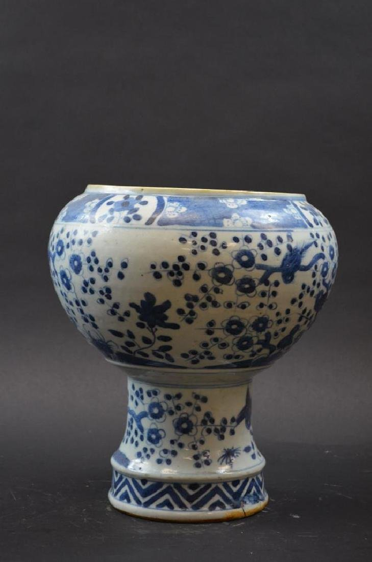 Chinese Blue & White Porcelain Stem Cup - 4