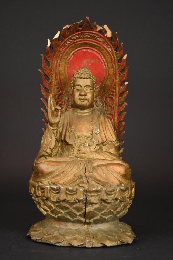 Chinese Gilt Carved Wood seated Buddha on Lotus Base