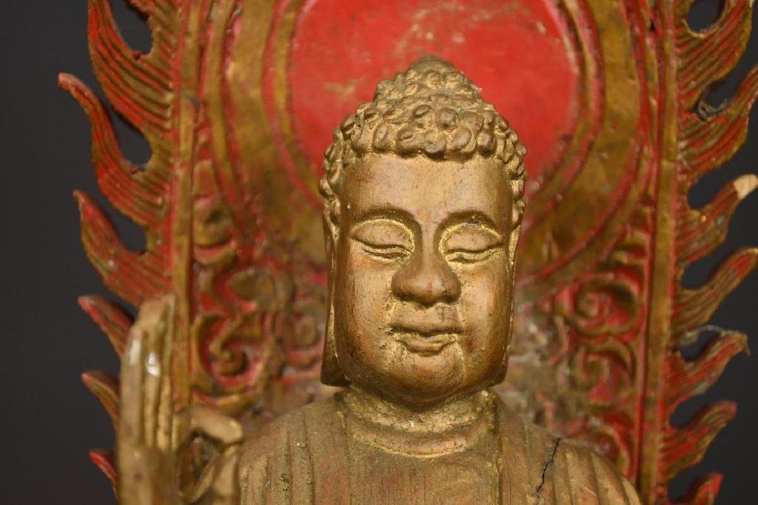 Chinese Gilt Carved Wood seated Buddha on Lotus Base - 6