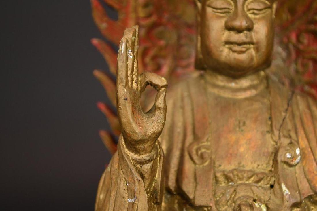 Chinese Gilt Carved Wood seated Buddha on Lotus Base - 7