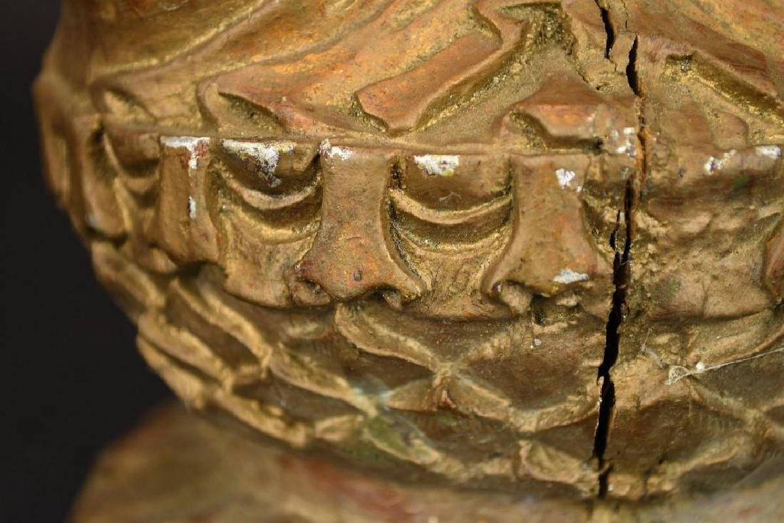 Chinese Gilt Carved Wood seated Buddha on Lotus Base - 9