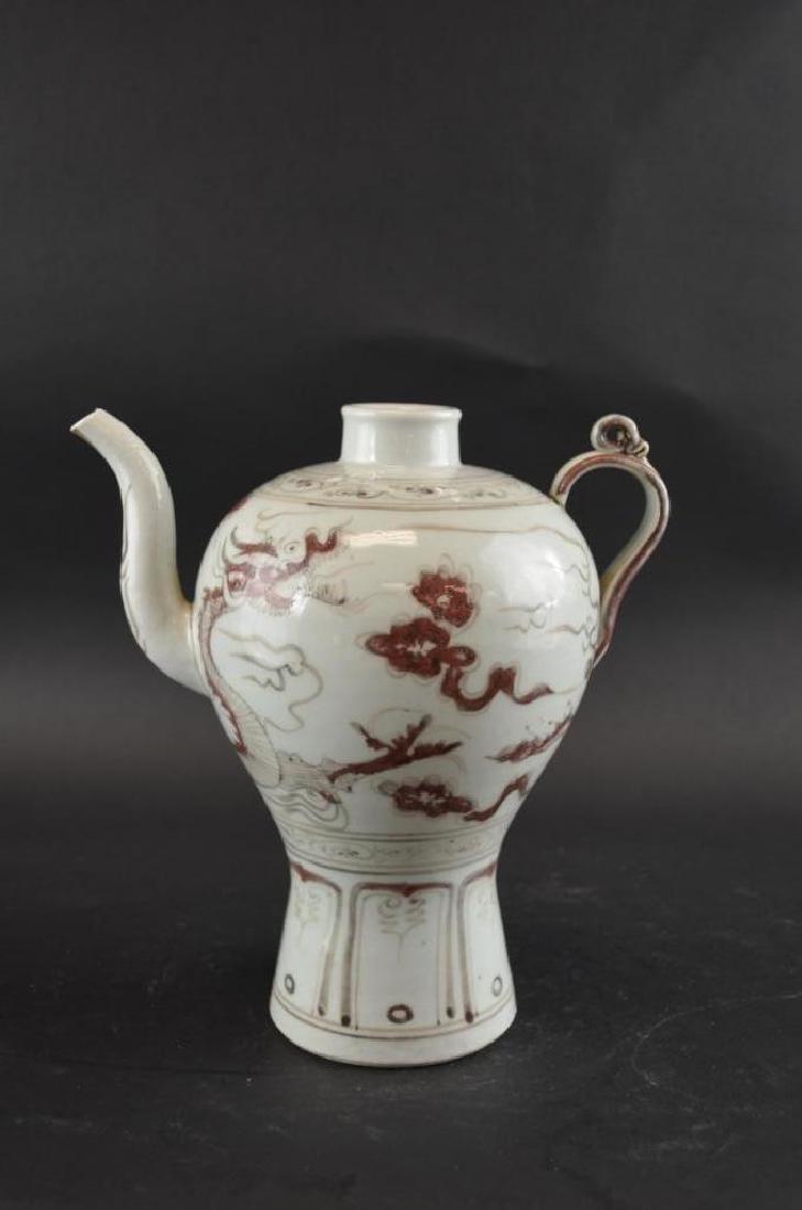 Chinese Underglaze Red Porcelain Dragon Ewer