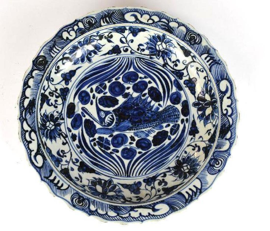 Chinese Blue & White Fish Charger
