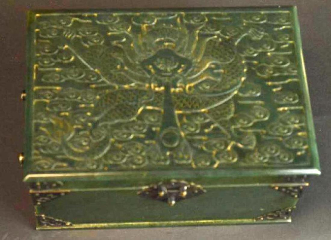 Chinese Hand Carved Spinach Jade Dragon Box - 2