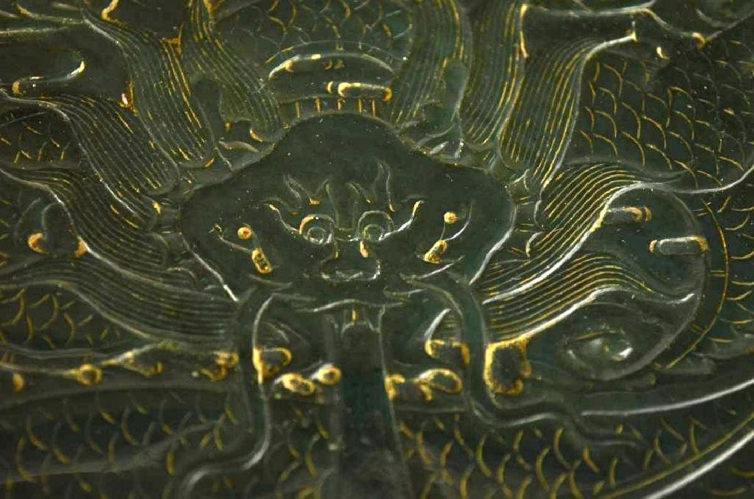 Chinese Hand Carved Spinach Jade Dragon Box - 3