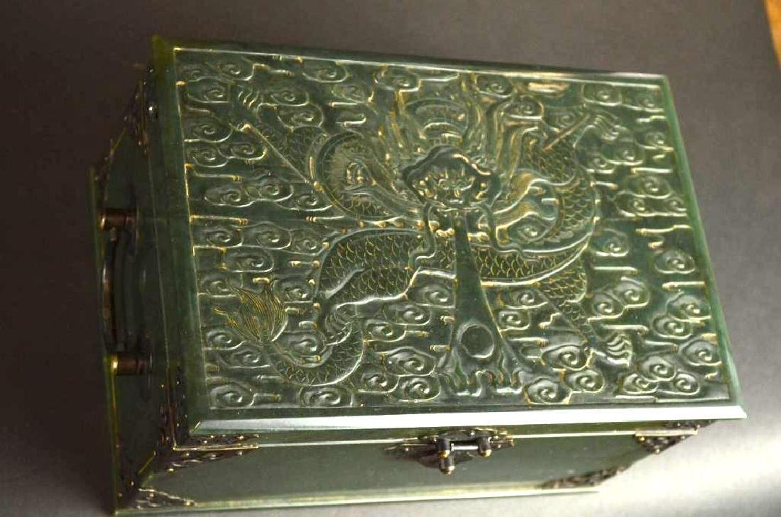 Chinese Hand Carved Spinach Jade Dragon Box - 4