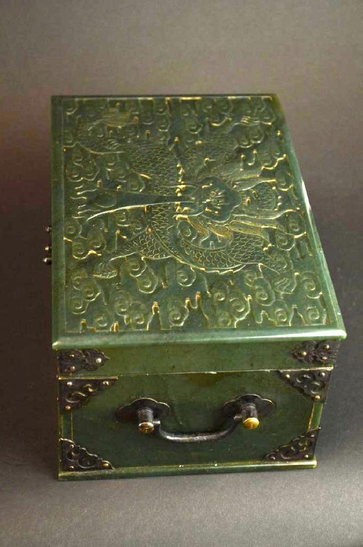 Chinese Hand Carved Spinach Jade Dragon Box - 5