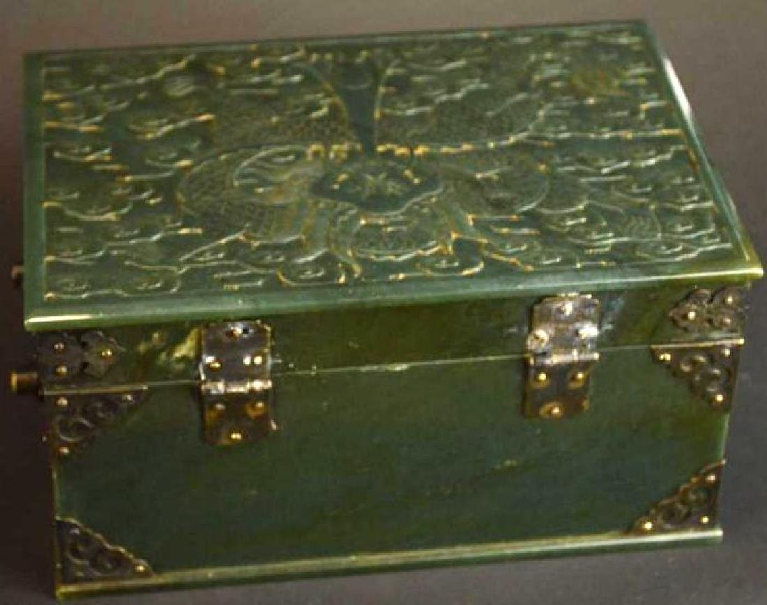 Chinese Hand Carved Spinach Jade Dragon Box - 6