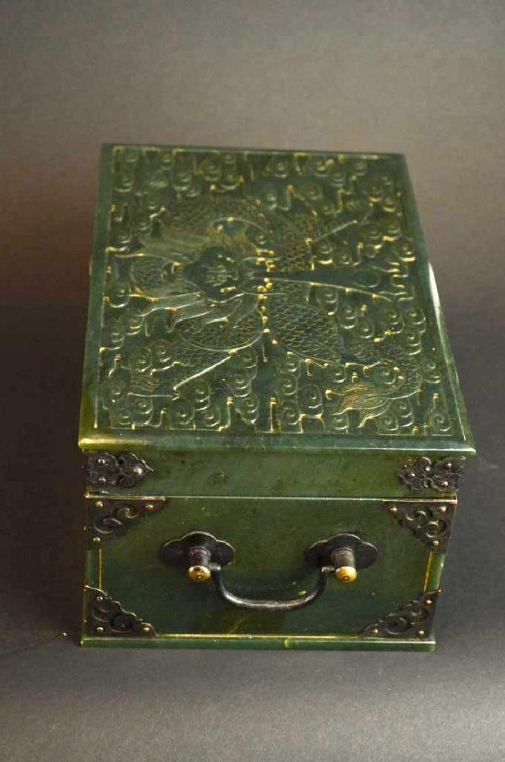 Chinese Hand Carved Spinach Jade Dragon Box - 7