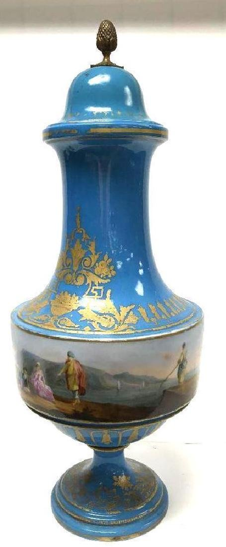 Antique Sevres Porcelain Lidded Vase - 4