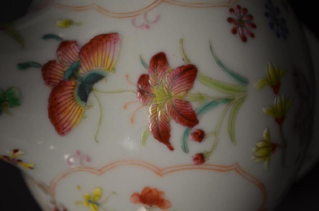 Chinese Famille Rose Bottle Shape Footed Vase - 4