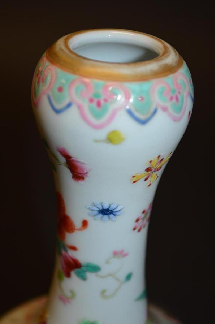 Chinese Famille Rose Bottle Shape Footed Vase - 5