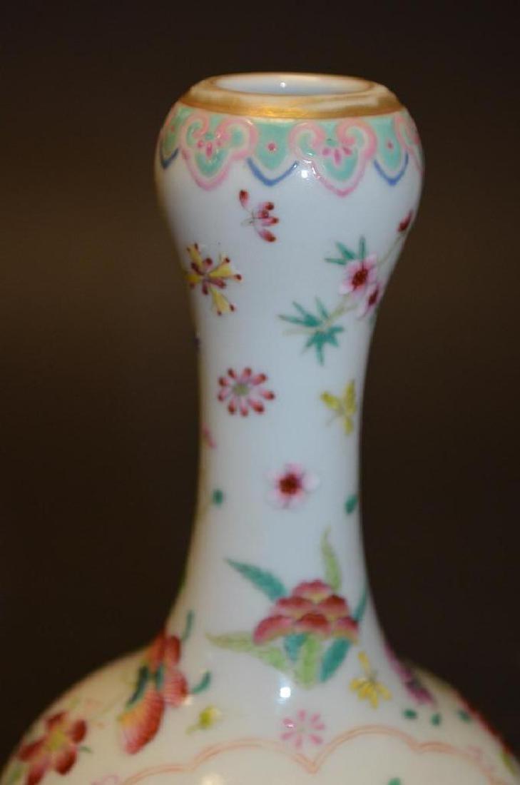 Chinese Famille Rose Bottle Shape Footed Vase - 7