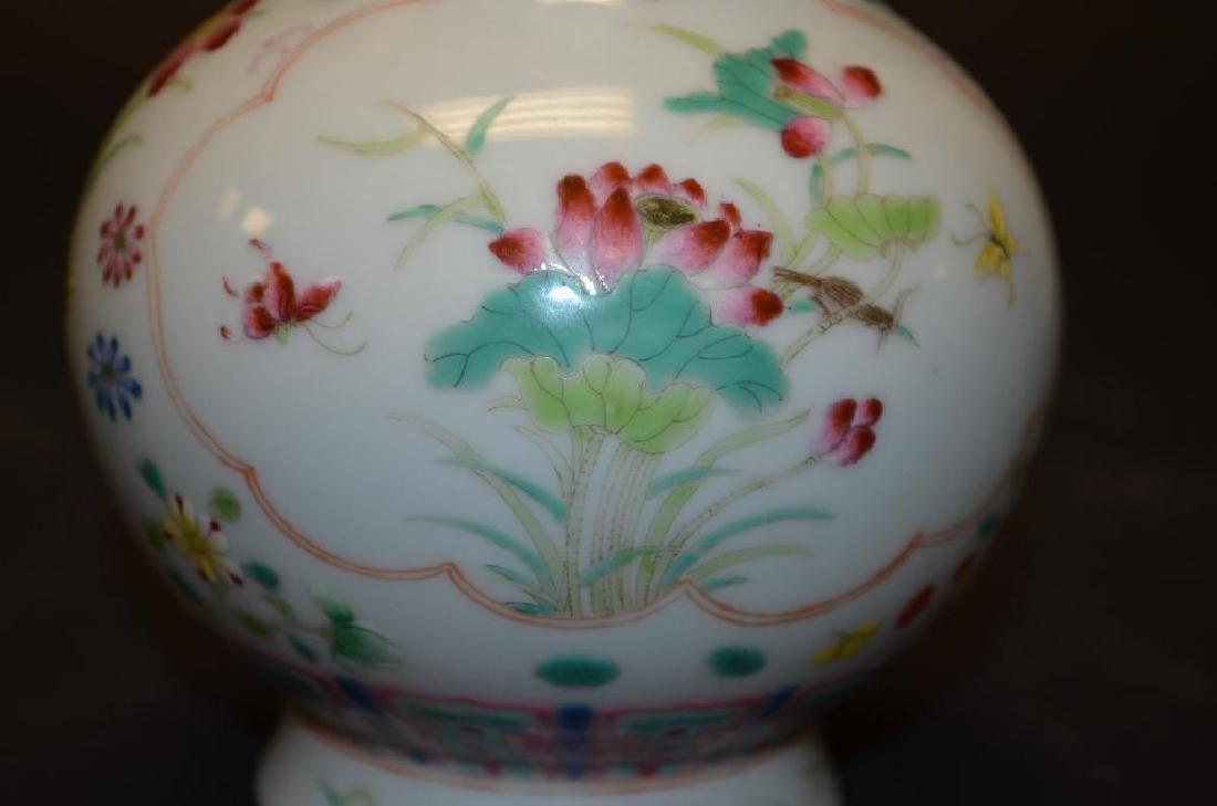 Chinese Famille Rose Bottle Shape Footed Vase - 8