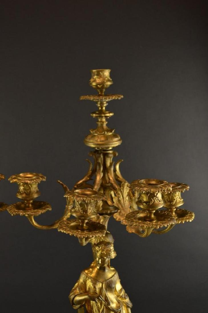 Pair of Antique French Gilt Bronze Candelabras - 2