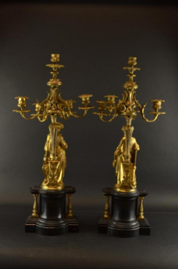 Pair of Antique French Gilt Bronze Candelabras - 7